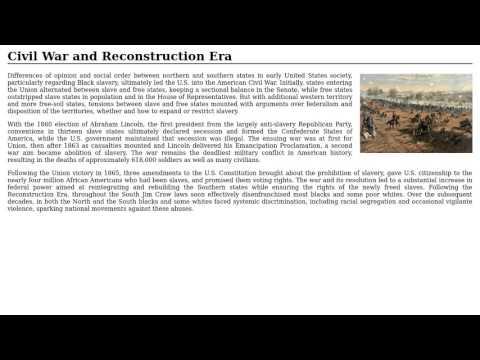 United States - Civil War and Reconstruction Era