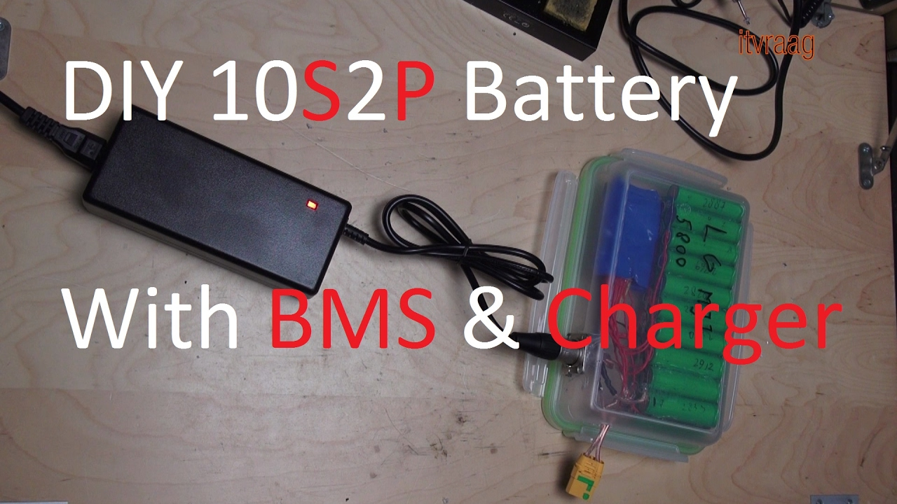 diy 10 cell battery pack with bms and charger 36v 10s2p  [ 1280 x 720 Pixel ]