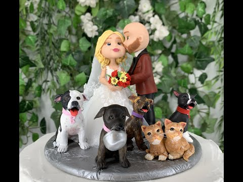traditional-wedding-cake-topper-figurine-with-pets