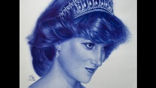 Drawing Princess Diana With Ball Point Pen
