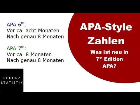 Zahlen & Ergebnisse APA Style 7th Edition: Fünf Änderungen