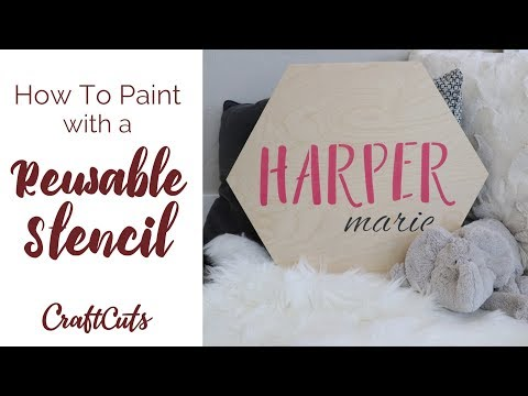 how-to-use-a-reusable-stencil---diy-nursery-sign-|-craftcuts.com