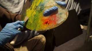 Wonderful ear to ear palette knife sounds. Cleaning up paint on palette | ASMR whisper accent