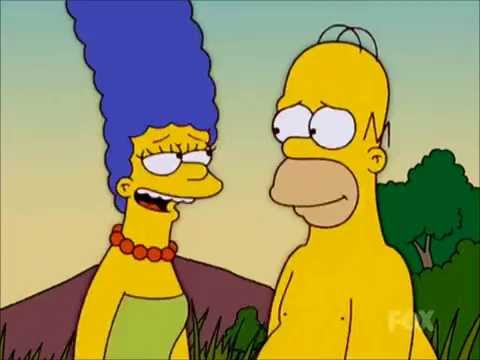 the simpsons homer and marge kissing