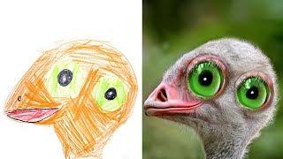 Детские Рисунки в Реальности #3 Сборник Детям про Животных Recreate Kids Monster Doodles Lion boy