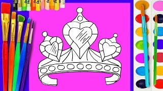 Drawing Diamond Hearts Crown for Kids to learn how to draw and paint with Water colors Painting Page