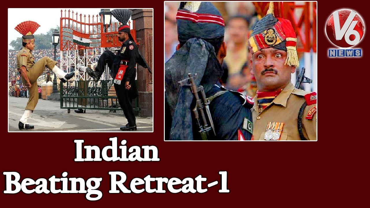Indian Beating Retreat At Wagah Border | Independence Day Celebrations | V6 Telugu News