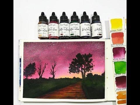 Liquid Watercolors Night Sky Tutorial [DIY Start To End Easy Watercolour Tutorial]