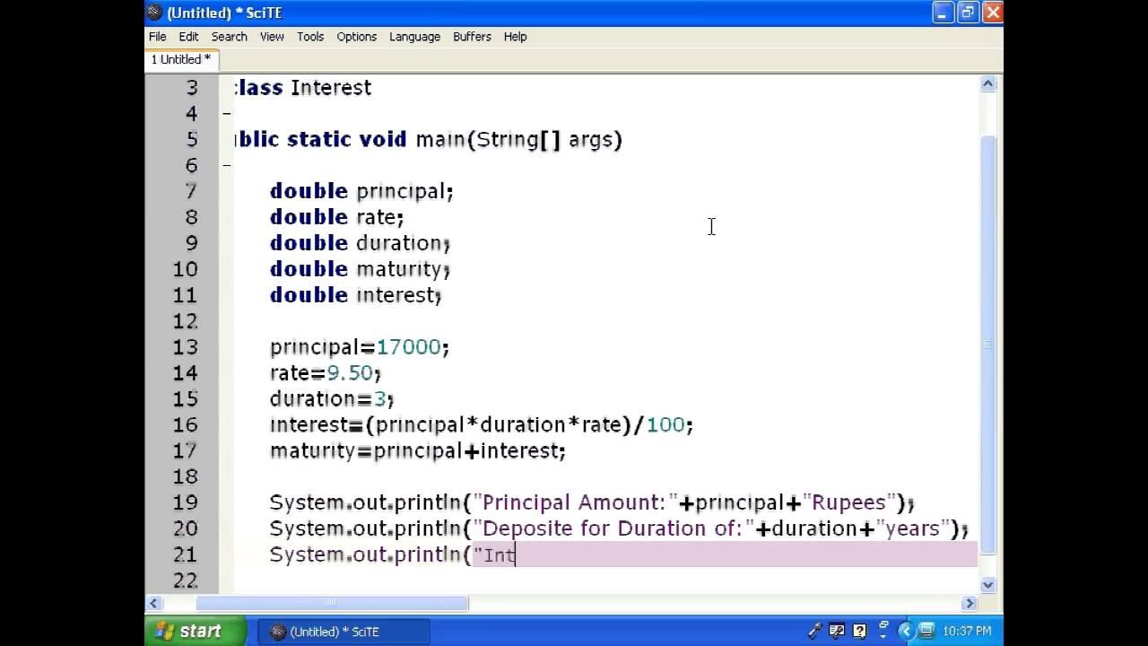 Basic Java Program using SciTE editor Lesson-7 Practical-2