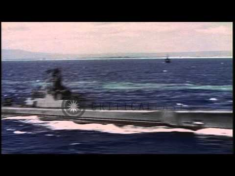 Several ships and submarines underway at the Pearl Harbor Naval Base in Hawaii on...HD Stock Footage