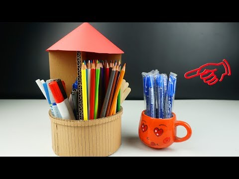 How to make pen holder - Diy pencil stand from cardboard