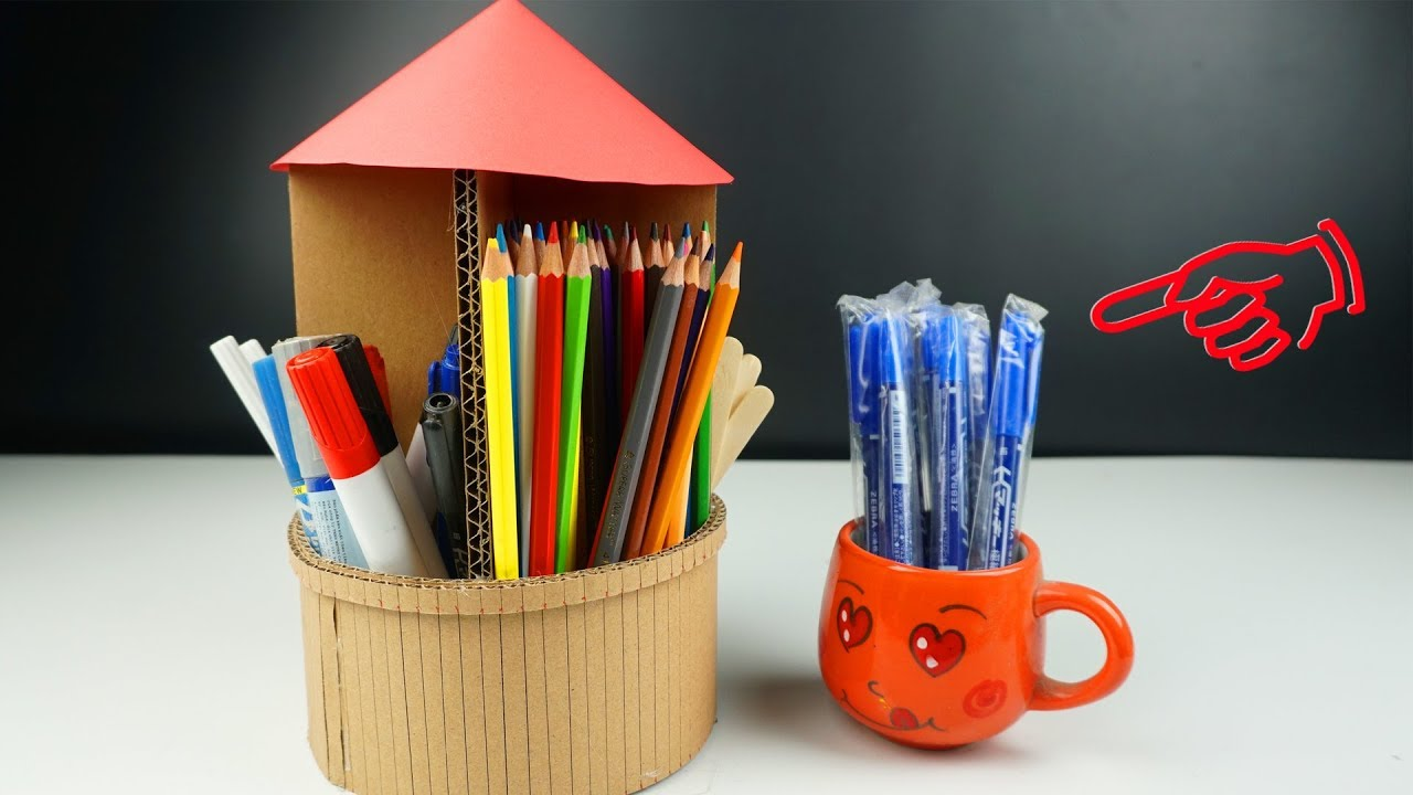 Homemade Pencil Holders How To Make Pen Holder Diy Pencil Stand From Cardboard