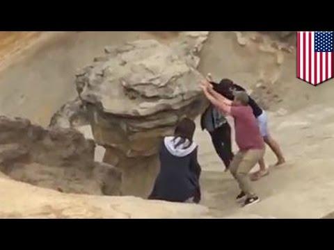 Idiots destroy much-loved sandstone rock formation at Cape Kiwanda in Oregon- TomoNews