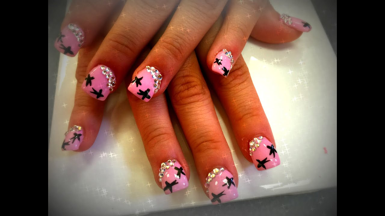 Acrylic nails light pink nail design youtube prinsesfo Image collections