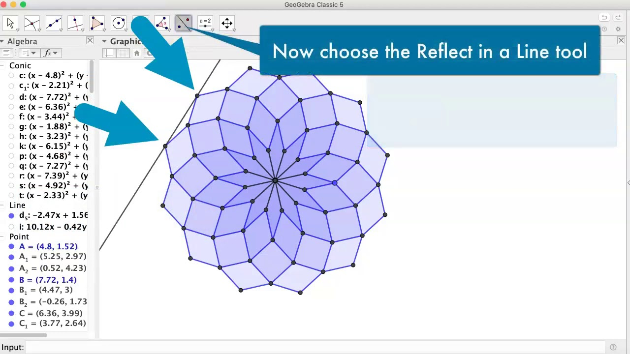Dodecagon construction in GeoGebra