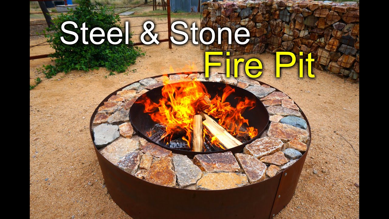 DIY Fire Pit with Steel & Stone - YouTube