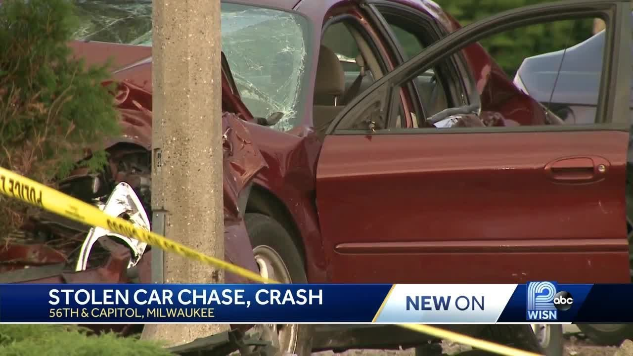 Stolen car police chase started in Brookfield, ended with crash in Milwaukee