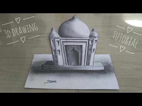 3D temple/masjid drawing tutorial || 3D sketch