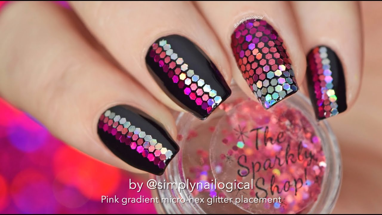 Loose Glitter Placement Nail Art Pink Gradient Youtube