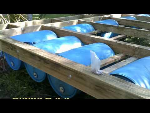 plastic barrell houseboat construction