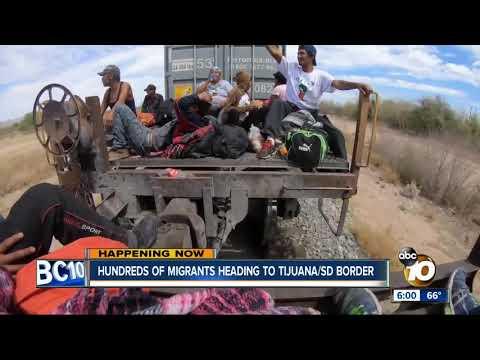 Hundreds of migrants heading to U.S.-Mexico border