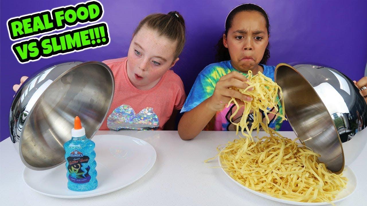 Real Food Vs Slime Challenge Youtube