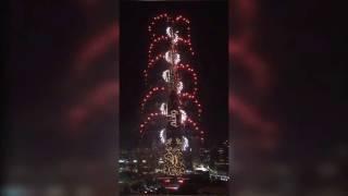 Burj Khalifa Fireworks 2016 - Downtown Dubai - Helicopter View