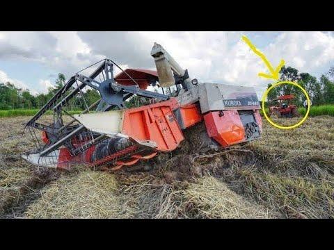 รถไถนา คูโบต้า ช่วย รถเกี่ยว ติดหล่ม harvester