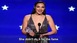 Gal gadot delivers powerful #seeher acceptance speech at 2018 critics' choice awards