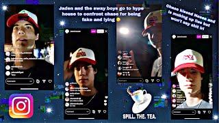Jaden Hossler & sway boys confront Chase Hudson for lying at hype house | instagram live | 7/7/20