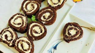তুলতুলে চকলেট সুইস রোল কেক(তেল/ বাটার ছাড়া)//Chocolate Swiss Roll Cake Recipe