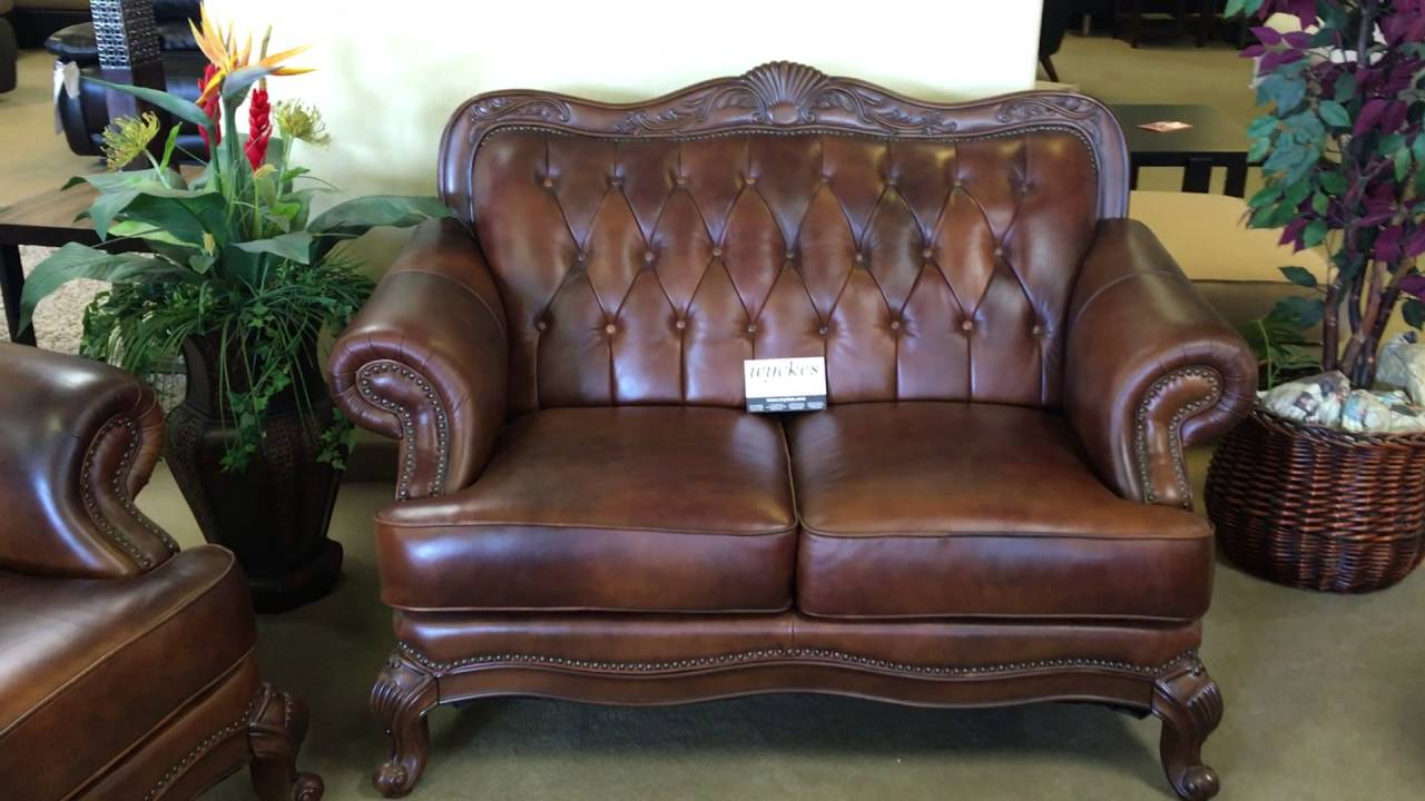 500681 Tri Tone Top Grain Leather Sofa Set With Wood Trim Youtube