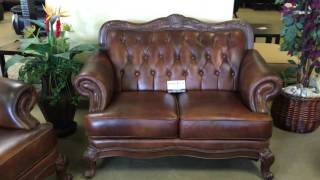 500681 Tri Tone Top Grain Leather Sofa Set with Wood Trim