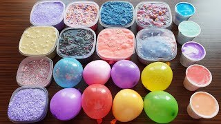 Mixing Old Slime With Stuff in Balloons and Glue in Cups