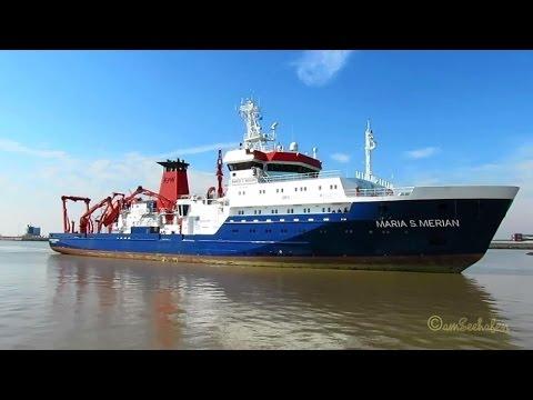 research & survey vessel MARIA S MERIAN DBBT IMO 9274197 inbound Emden Forschungsschiff