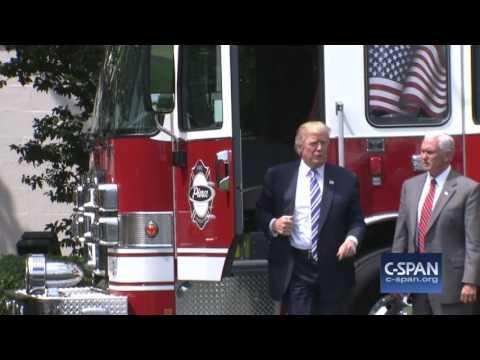 President Trump in Fire Truck (C-SPAN)