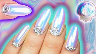 WHITE CHROME NAILS   Mermaid Unicorn Dust Iridescent Nail Art   Sea Shell Nail Swarovski & Pearl by : Natasha Lee