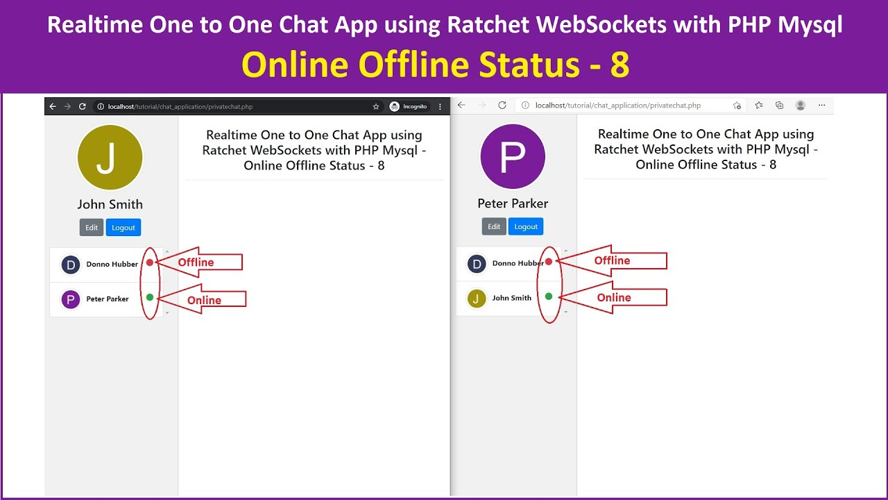 Realtime One to One Chat App using Ratchet WebSockets with PHP MySQL - Online Offline Status - 8