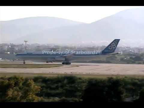 Olympic Airways 747-200s and A340 at Athens Hellenikon Airport.mp4