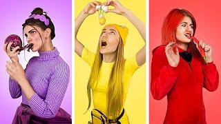 ¡Desafío De Colores! Comemos y Compramos Todo De Un Mismo Color Por 24 Horas