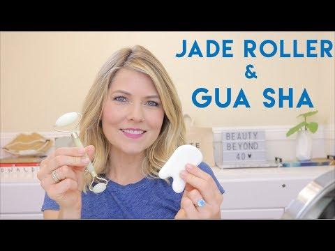 Jade Facial Roller and Gua Sha Facial Massage Tool - Traditional Chinese Skincare Tools