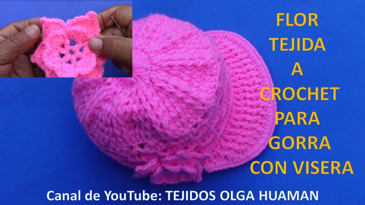 Flor tejida a crochet fácil y rápido de tejer para gorra con visera ...