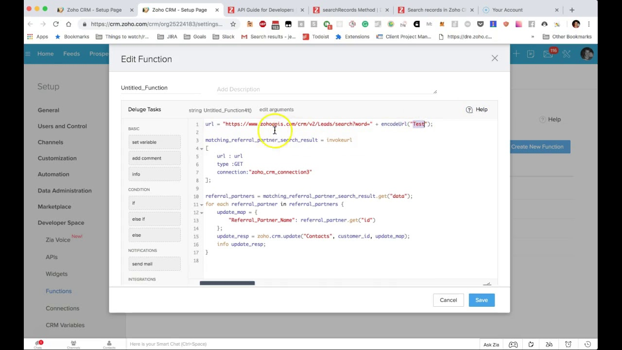 Wildcard search in Zoho CRM using Deluge script
