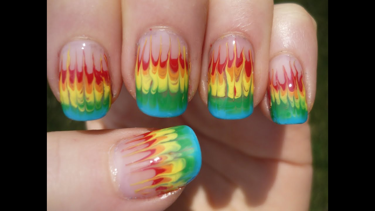 No Water Marble Rainbow Fire Nail Art Tutorial Youtube