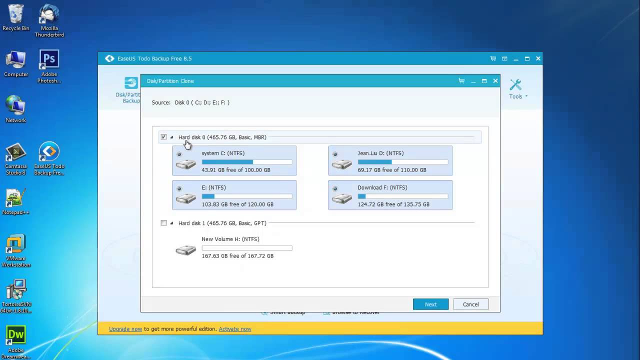Free Windows 7 Clone Software Helps Clone A Partition Or An Entire Disk Youtube