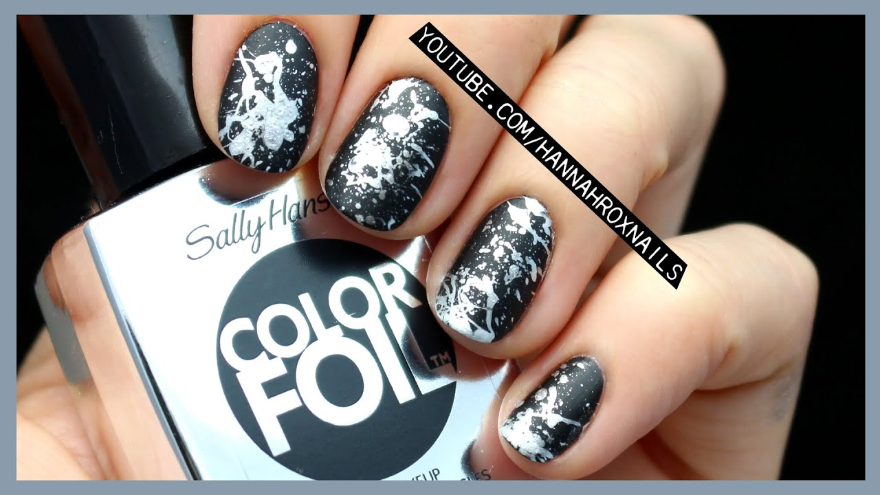 Easy chrome paint splatter nail art youtube prinsesfo Image collections