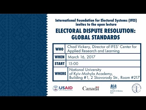 Open Lecture: Electoral Dispute Resolution: Global Standards