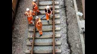 Engineering Work at Newton Aycliffe Lowering and Re-laying Track under bridge 21/07/13