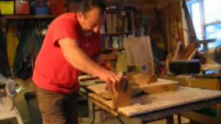 This Video Previously Contained A Copyrighted Audio Track. Due To A Claim By A Copyright Holder, The Audio Track Has Been Muted.     Part 3: Greg's Giant Slabs.  Actor/artist Mark Owen Cuts The Maple Butterfly Hinges.