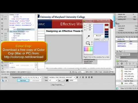 Best Dreamweaver Tutorials: Final Project Part 4